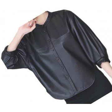 Womens Collarless Short Sleeve Outwear Real Lambskin Black Leather Top