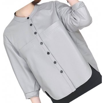 Womens Collarless Short Sleeve Outwear Real Lambskin Gray Leather Top