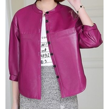 Womens Collarless Short Sleeve Outwear Real Lambskin Pink Leather Top