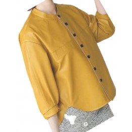 Womens Collarless Short Sleeve Outwear Real Lambskin Yellow Leather Top