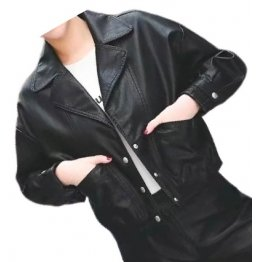 Womens Cool Fashion Outwear  Real Lambskin Black Leather Top