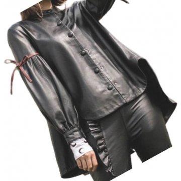 Womens Designer Outwear Real Lambskin Black Leather Top