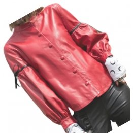 Womens Designer Outwear Real Lambskin Red Leather Top