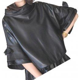 Womens Fabulous Outwear Real Lambskin Black Leather Top