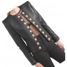 Womens Glamorous Design Outwear Real Lambskin Black Leather Top