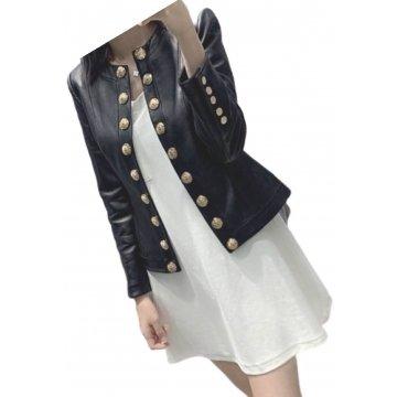 Womens Glamorous Design Outwear Real Lambskin Black Leather Top