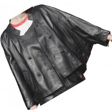 Womens Incredible Design Outwear Real Lambskin Black Leather Top