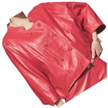 Womens Incredible Design Outwear Real Lambskin Red Leather Top