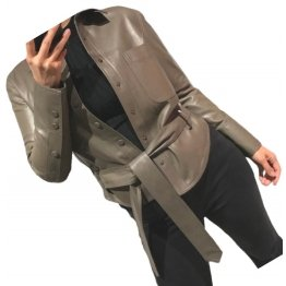 Womens Marvellous Design Outwear  Real Lambskin Brown Leather Top