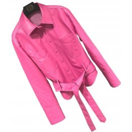 Womens Marvellous Design Outwear  Real Lambskin Pink Leather Top