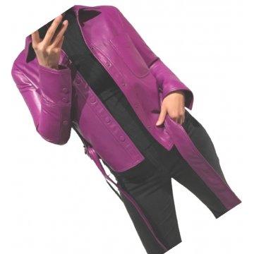 Womens Marvellous Design Outwear  Real Lambskin Purple Leather Top