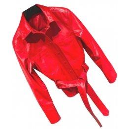 Womens Marvellous Design Outwear  Real Lambskin Red Leather Top
