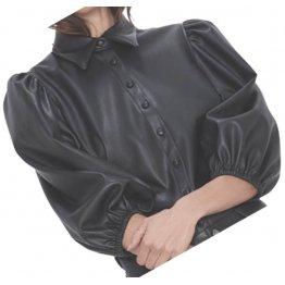 Womens Street Fashion Short Sleeve Outwear Real Lambskin Black Leather Top
