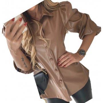 Womens Street Fashion Short Sleeve Outwear Real Lambskin Brown Leather Top