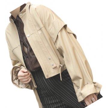 Womens Stunning Design Outwear Real Lambskin Beige Leather Top