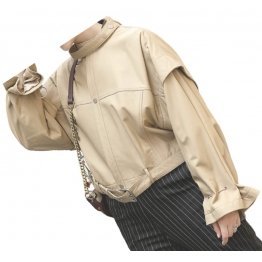 Womens Stunning Design Outwear Real Lambskin Beige Leather Top