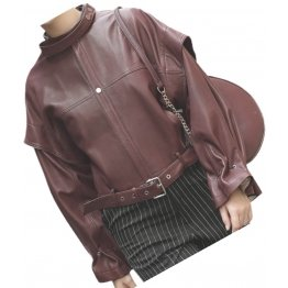 Womens Stunning Design Outwear Real Lambskin Burgundy Leather Top