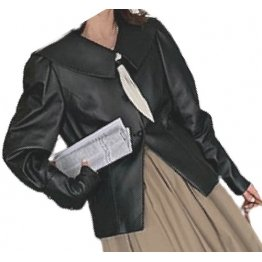 Womens Timeless Style Outwear Real Lambskin Black Leather Top