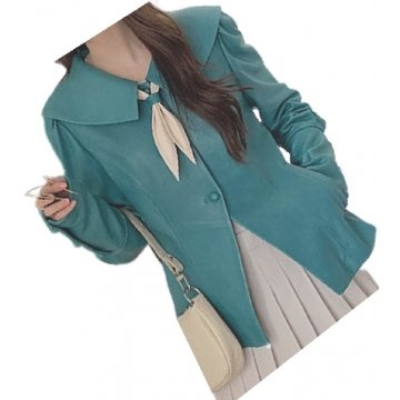 Womens Timeless Style Outwear Real Lambskin Blue Leather Top