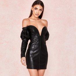 Black Sweetheart Leather Dress Women Club Dresses