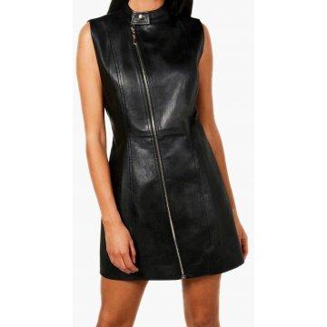 Womens Asymmetric Zipper Front Real Sheepskin Black Leather Dress