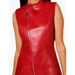 Womens Asymmetric Zipper Front Real Sheepskin Red Leather Dress