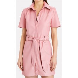 Womens Belted Shirt Style Real Sheepskin Pink Leather Dress