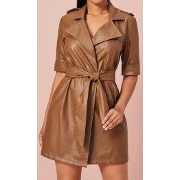 Womens Belt Wrap Style Real Sheepskin Brown Leather Dress