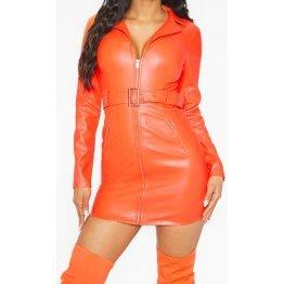 Womens Biker Style Full Sleeve Real Sheepskin Orange Leather Dress