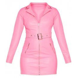 Womens Biker Style Full Sleeve Real Sheepskin Pink Leather Dress