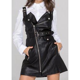 Womens Biker Style Real Sheepskin Black Leather Dress