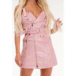 Womens Biker Style Real Sheepskin Pink Leather Dress