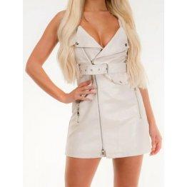 Womens Biker Style Real Sheepskin White Leather Dress