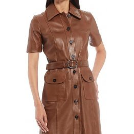 Womens Button Front Shirt Style Real Sheepskin Brown Leather Dress