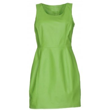 Womens Classic Real Sheepskin Green Leather Dress
