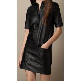 Womens Cute Fashion Real Sheepskin Black Leather Dress
