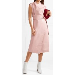 Womens Draped Style Real Sheepskin Pink Leather Dress