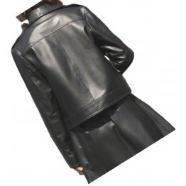 Womens Fabulous Outwear Dress Real Lambskin Black Leather Top And Skirt