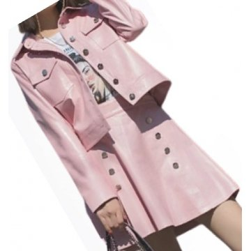 Womens Fabulous Outwear Dress Real Lambskin Pink Leather Top And Skirt