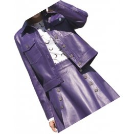 Womens Fabulous Outwear Dress Real Lambskin Purple Leather Top And Skirt