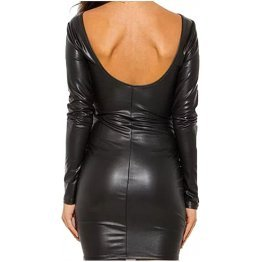 Womens Front Lace-up Real Sheepskin Black Leather Dress