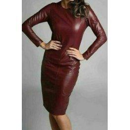 Womens Full Sleeve Real Sheepskin Burgundy Leather Dress