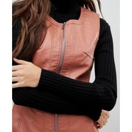 Womens Full Zipper Front Real Sheepskin Peach Leather Dress