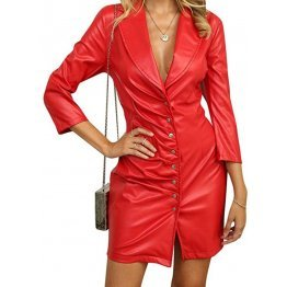 Womens Glamorous Real Sheepskin Red Leather Dress