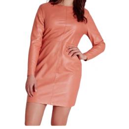 Womens High Fashion Real Sheepskin Peach Leather Dress