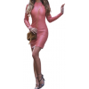 Womens High Fashion Real Sheepskin Pink Leather Dress