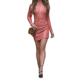 Womens High Fashion Real Sheepskin Pink Leather Dress