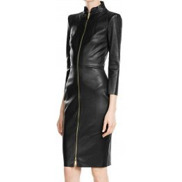Womens High Neck Real Sheepskin Black Leather Dress