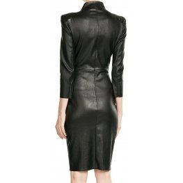 Womens High Neck Real Sheepskin Black Leather Dress