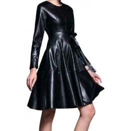 Womens Long Sleeve Genuine Sheepskin Black Leather Dress
